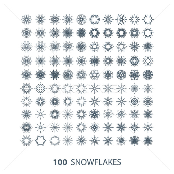 Vetor conjunto 100 gracioso flocos de neve neve Foto stock © maximmmmum