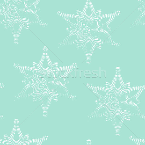vector seamless background with graceful engraving snowflakes Stock photo © maximmmmum