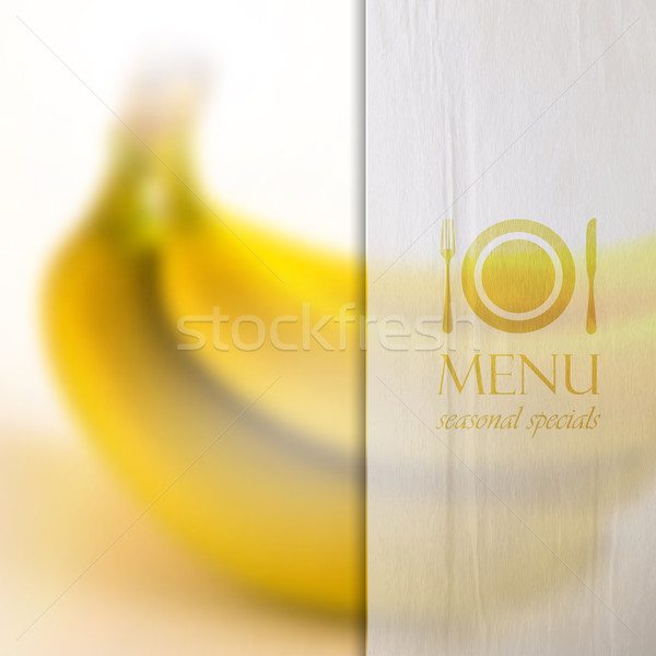 restaurant menu design on realistic blurred background of bananas with paper wrinkled semi transpare Stock photo © maximmmmum
