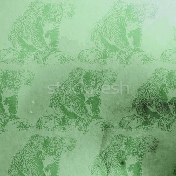 Vektor klasszikus illusztráció zöld vízfesték koala Stock fotó © maximmmmum