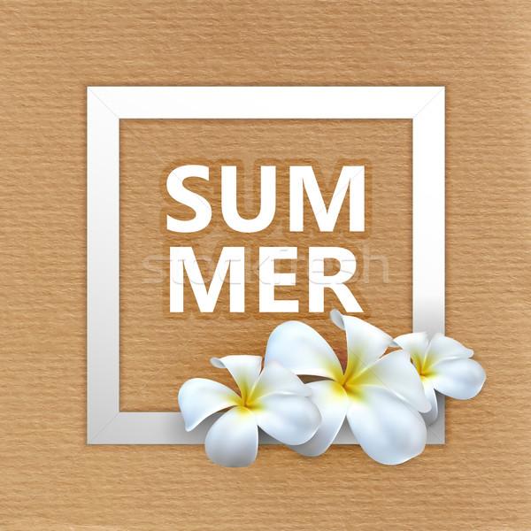 illustration of Summer label with exotic frangipani flowers  Stock photo © maximmmmum