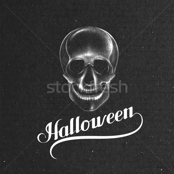 Halloween. Holiday Vector Illustration With Skull Stock photo © maximmmmum