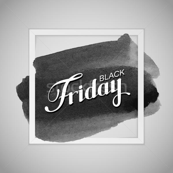 Black friday verkoop label aquarel vlek Stockfoto © maximmmmum