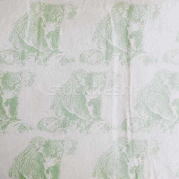 vector vintage illustration of a koala bear pattern on the old wrinkled paper texture Stock photo © maximmmmum
