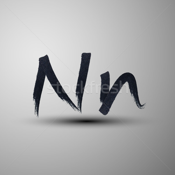 vector calligraphic hand-drawn marker or ink letter N Stock photo © maximmmmum