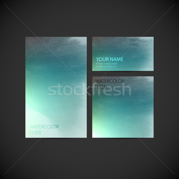 set of vector visual corporate identity with paint watercolor sp Stock photo © maximmmmum