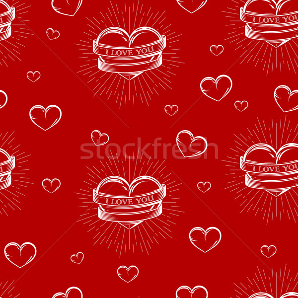 vector seamless pattern with engraving hearts,  ribbons and burst light rays. I love you. Happy Vale Stock photo © maximmmmum