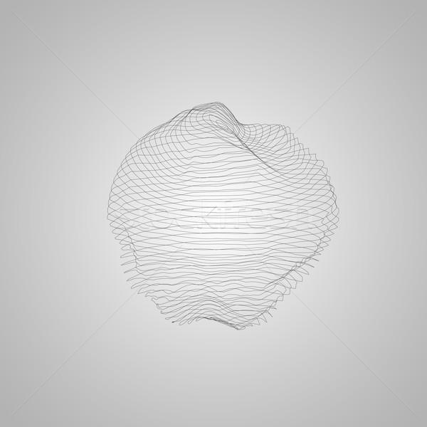 3D verlicht vervormd bol wireframe futuristische Stockfoto © maximmmmum