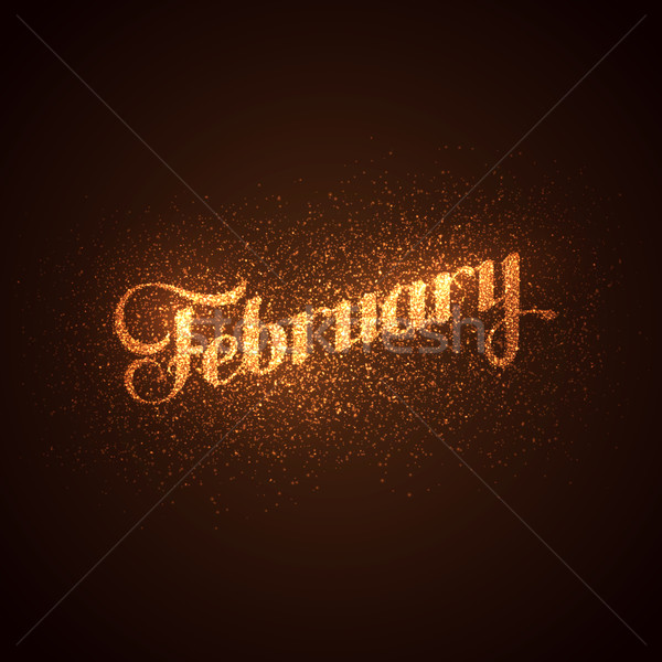 February label with glowing golden sparkles.  Stock photo © maximmmmum