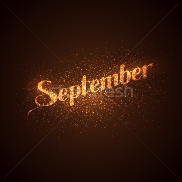 September label with glowing golden sparkles.  Stock photo © maximmmmum