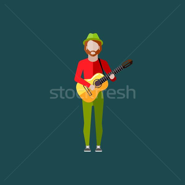Vektör örnek müzisyen adam gitar müzik Stok fotoğraf © maximmmmum