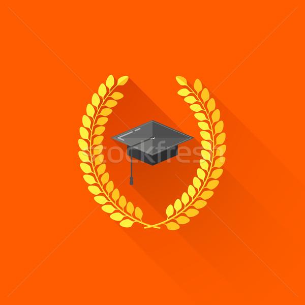 vector illustration of graduate cap with laurel wreaths. educational concept  Stock photo © maximmmmum