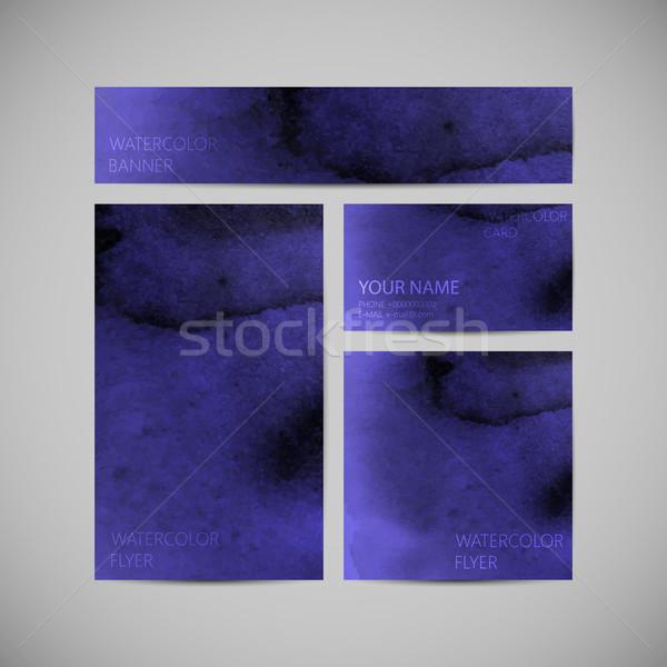 set of vector visual corporate identity with indigo paint waterc Stock photo © maximmmmum