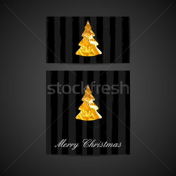 vector illustration of a Xmas greeting cards with golden foil Ch Stock photo © maximmmmum