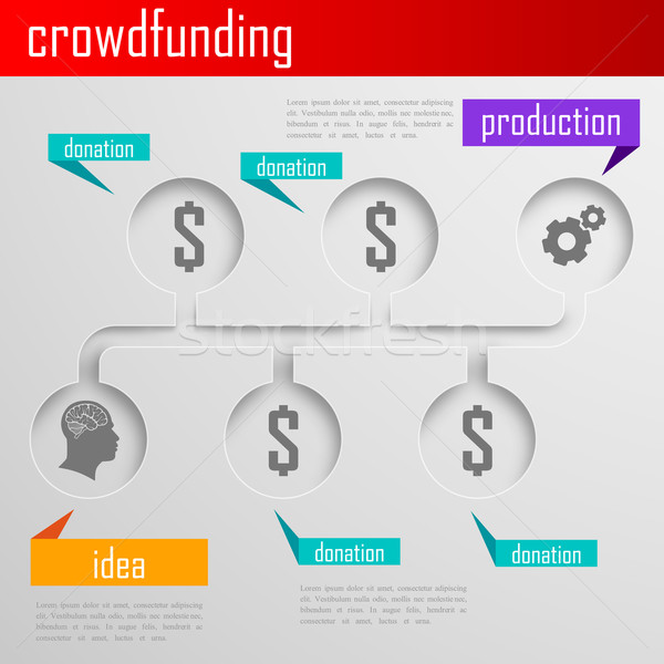 Infographic crowdfunding illustration for web or print design. Business concept  Stock photo © maximmmmum