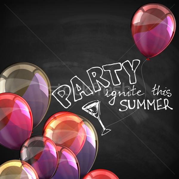 ignite this summer party. holiday illustration with flying multicolored balloons and blackboard text Stock photo © maximmmmum