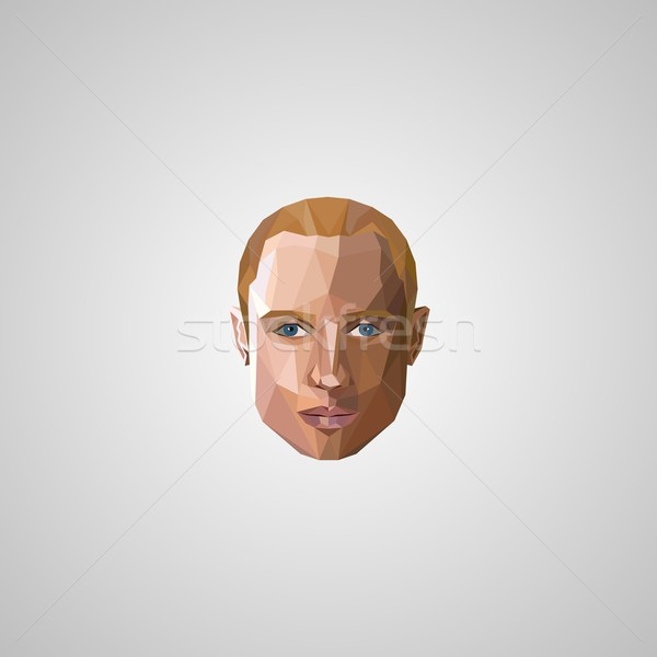 illustration with an blond man face in polygonal style Stock photo © maximmmmum