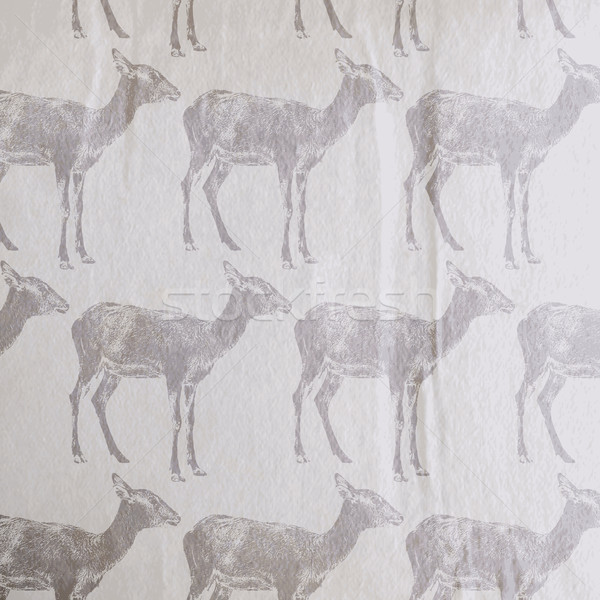 vector vintage illustration of an antelope or a goat pattern on  Stock photo © maximmmmum
