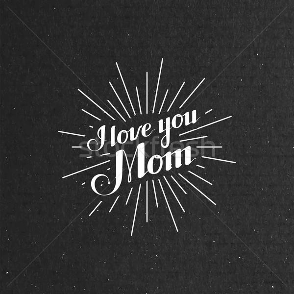 I Llove You Mom retro label with light rays Stock photo © maximmmmum