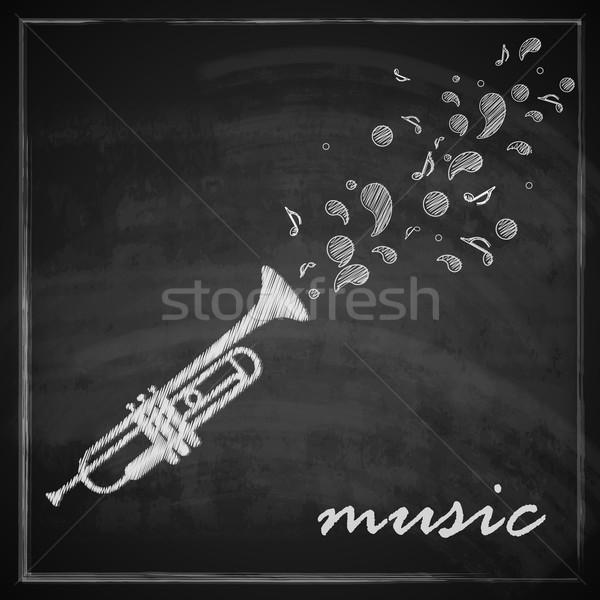 vintage illustration with trumpet on blackboard background. music illustration  Stock photo © maximmmmum