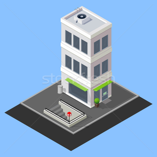 vector isometric building with metro station  Stock photo © maximmmmum