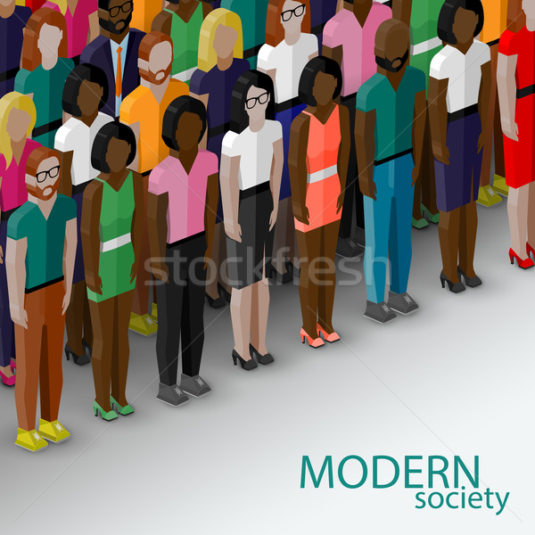 vector 3d isometric  illustration of society members with a large group of men and women. population Stock photo © maximmmmum