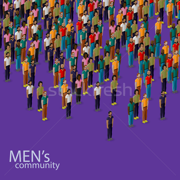 vector 3d isometric illustration of male community with a crowd of guys and men. urban lifestyle con Stock photo © maximmmmum
