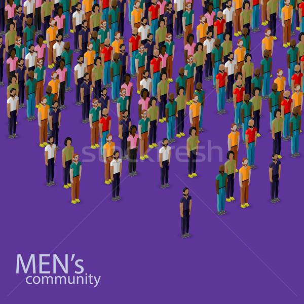 Vector 3D ilustración masculina comunidad Foto stock © maximmmmum