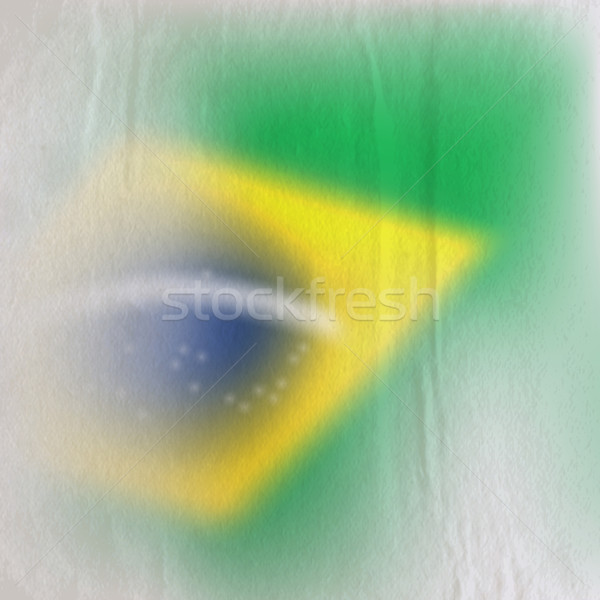abstract background with old crumpled paper texture and faded Brazilian flag  Stock photo © maximmmmum
