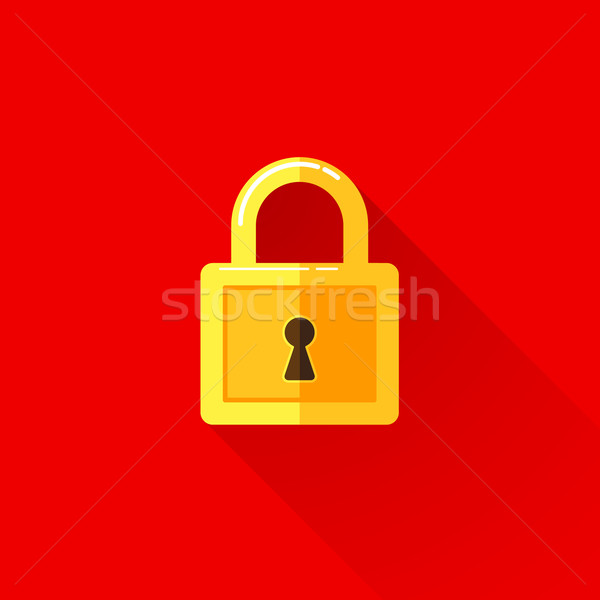 vintage illustration of a lock in flat style with long shadow  Stock photo © maximmmmum
