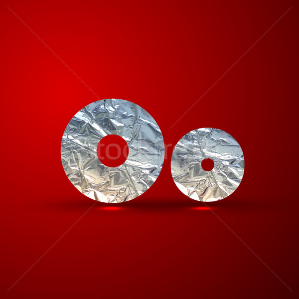 vector set of aluminum or silver foil letters. Letter O Stock photo © maximmmmum