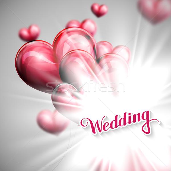 Vakantie illustratie bruiloft label ballonnen vector Stockfoto © maximmmmum
