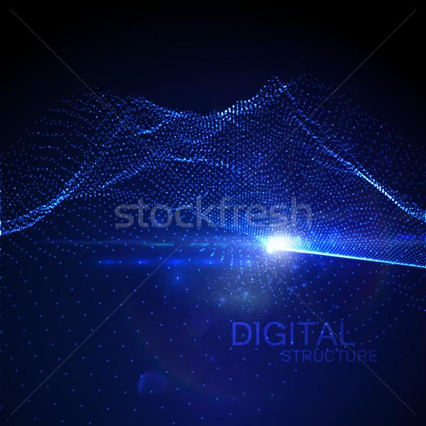 3D неоновых цифровой волна аннотация Сток-фото © maximmmmum