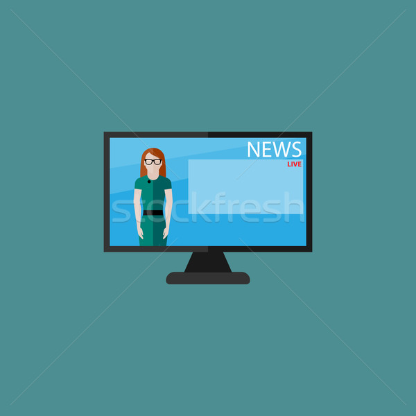 vector flat  illustration of female TV newscaster. breaking news Stock photo © maximmmmum