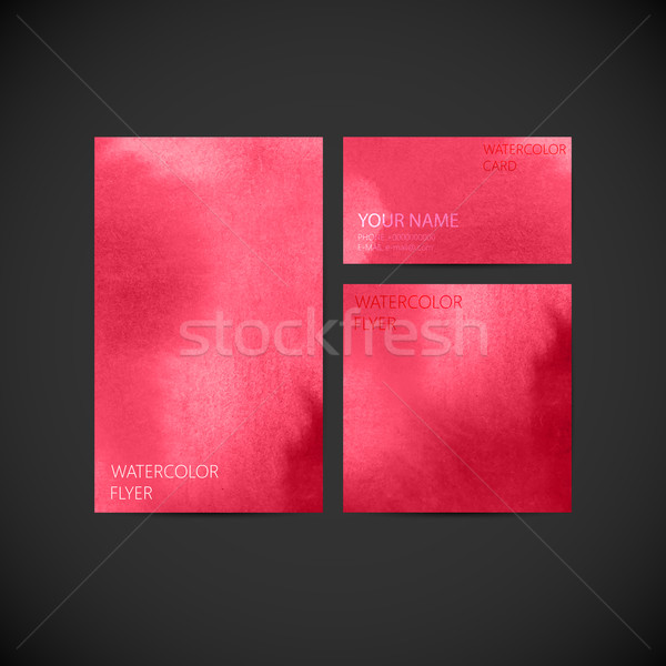 set of vector visual corporate identity with pink paint watercol Stock photo © maximmmmum