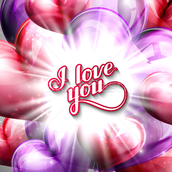 vector holiday illustration of  I love you label on the festive balloon hearts background with shiny Stock photo © maximmmmum