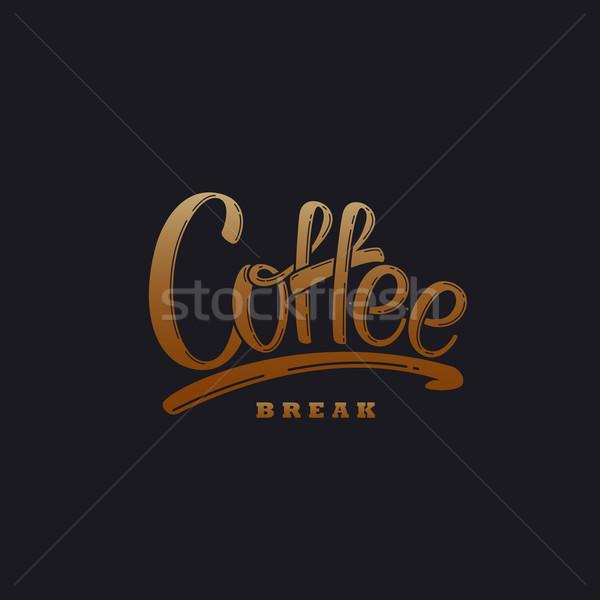 Café vecteur illustration étiquette pause café design Photo stock © maximmmmum