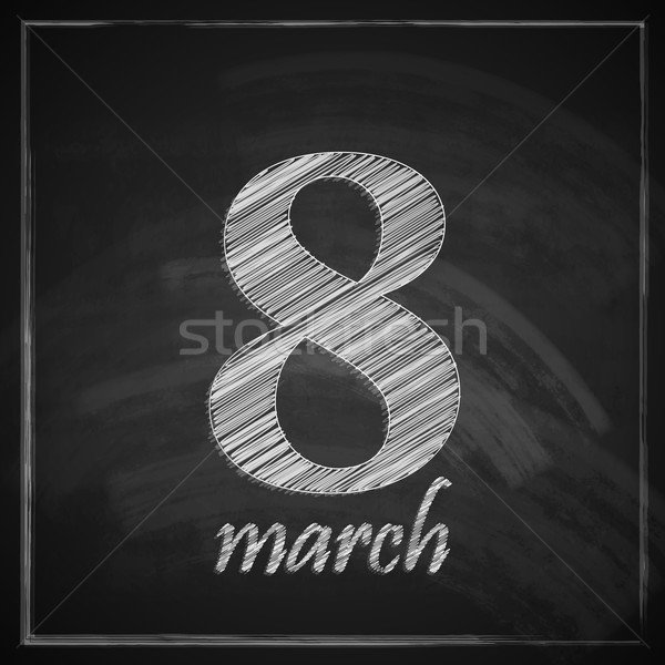 Wenskaart aantal acht schoolbord textuur Stockfoto © maximmmmum