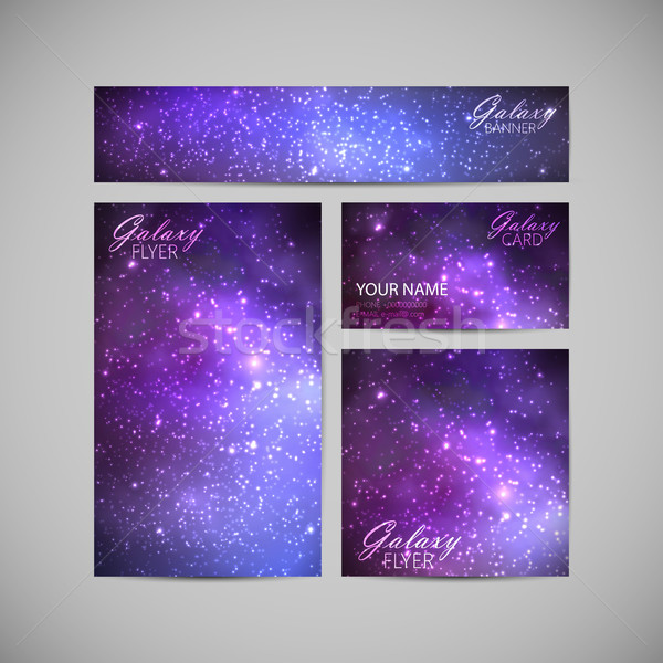set of vector visual corporate identity with galaxy Milky Way ba Stock photo © maximmmmum