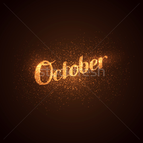 October label with glowing golden sparkles.  Stock photo © maximmmmum