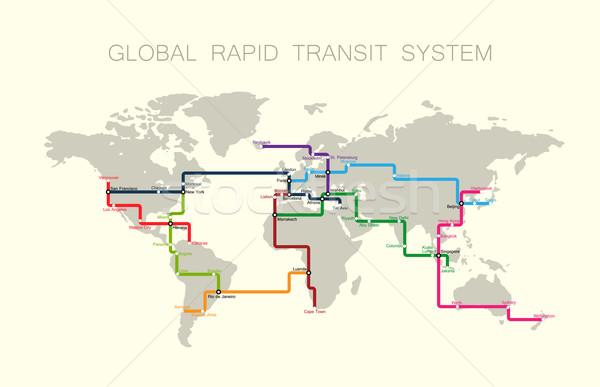 глобальный быстрый транзит Мир транспорт вектора Сток-фото © maximmmmum