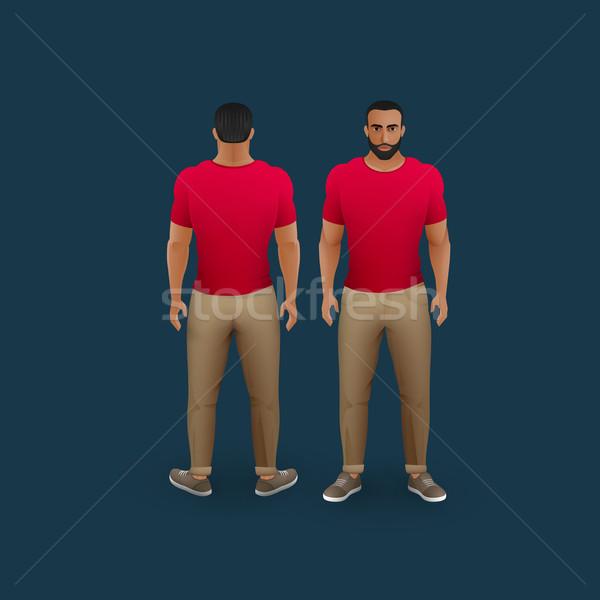 Mannen pants tshirt vector mode illustratie Stockfoto © maximmmmum