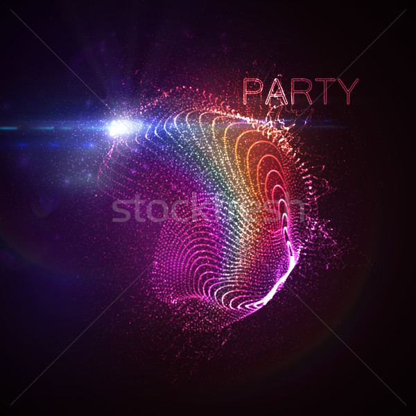 Parti neon 3D gökkuşağı Stok fotoğraf © maximmmmum