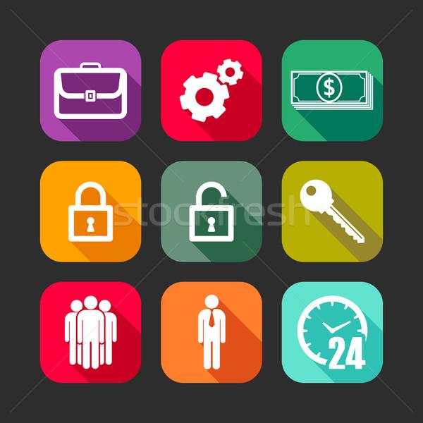 Stockfoto: Iconen · web · mobiele · toepassingen · business · borden