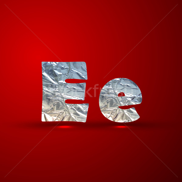 vector set of aluminum or silver foil letters. Letter E Stock photo © maximmmmum