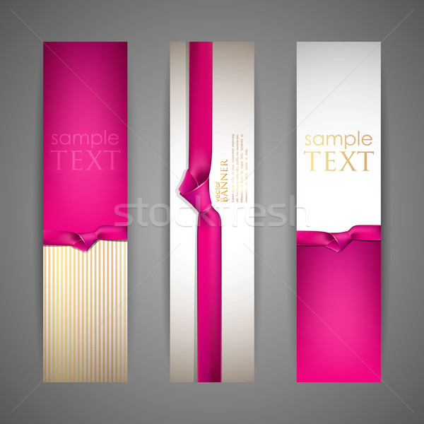 set of banners with pink ribbons Stock photo © maximmmmum