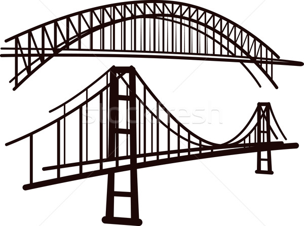 набор мостами моста черный рисунок транспорт Сток-фото © maximmmmum
