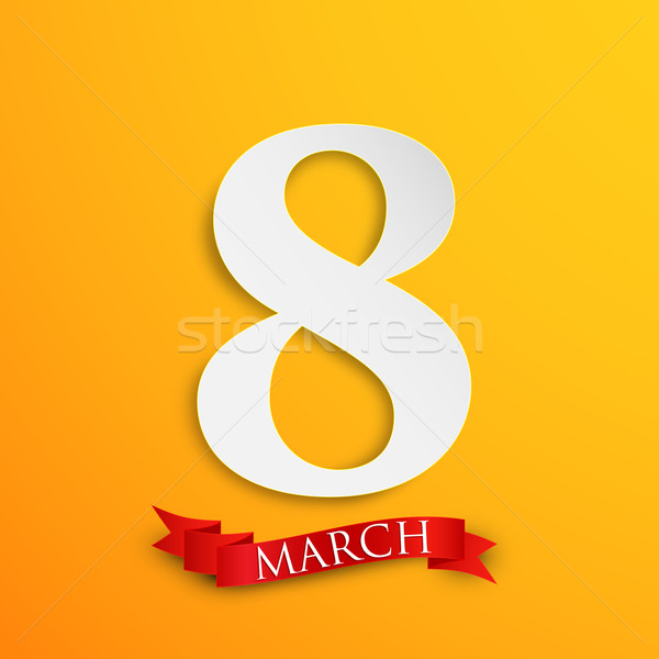 8 march. Women's Day greeting card with paper number eight and red ribbon  Stock photo © maximmmmum