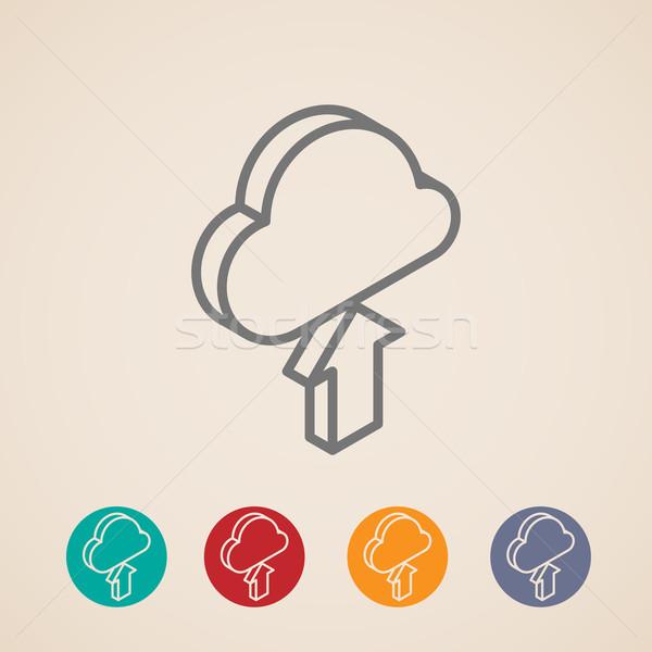 Felhő feltöltés nyíl izometrikus vektor ikonok Stock fotó © maximmmmum