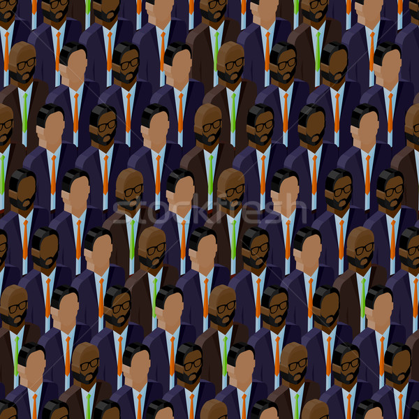 vector seamless pattern with men (businessmen or politicians) crowd. 3d isometric  illustration of b Stock photo © maximmmmum